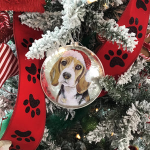 Glass Round Dog Ornaments
