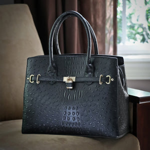 The Harlow Tote-Ostrich Embossing