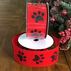 Paw Print Red Ribbon