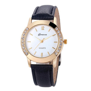 2017 Fashion Women Geneva Crystal Women Diamond PU Leather Quartz Wrist Watch women Simple Clocks Female relogios feminino