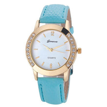 Load image into Gallery viewer, 2017 Fashion Women Geneva Crystal Women Diamond PU Leather Quartz Wrist Watch women Simple Clocks Female relogios feminino