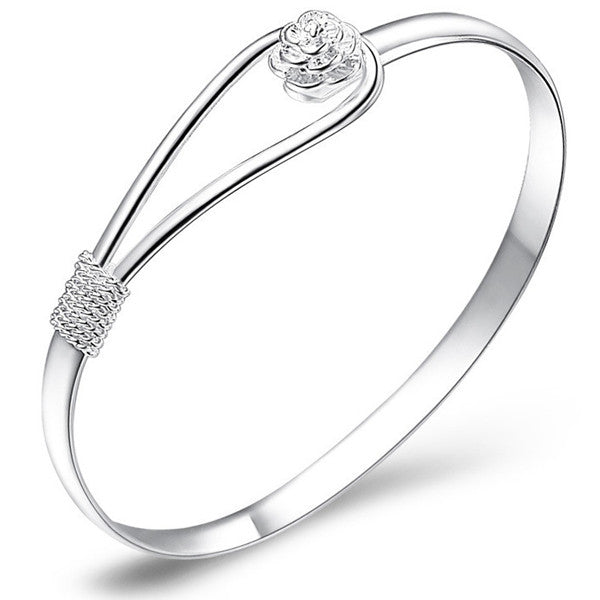 Crystal Rose Silver Bangle