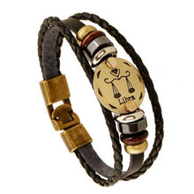 Load image into Gallery viewer, Zodiac Signs Black Gallstone Leather Bracelet