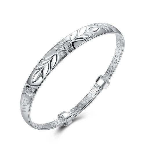 Floral Diamond Laser Cut Bangle in 18K White Gold Plated