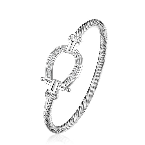 Swarovski Crystal Lucky Horseshoe Bangle in 18K White Gold Plated