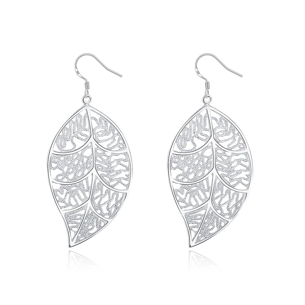Filigree Leaf Earring in White Gold Plated