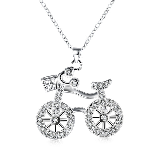 Swarovski Crystal Bicycle Necklace in 18K White Gold Plated