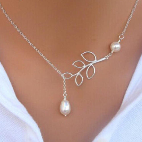 Leaf Pearl Lariat Necklace