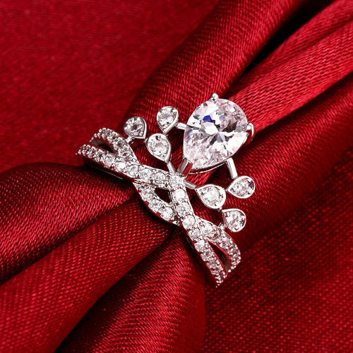 18K White Gold Plated Adjustable Swarovski Crystal Ring
