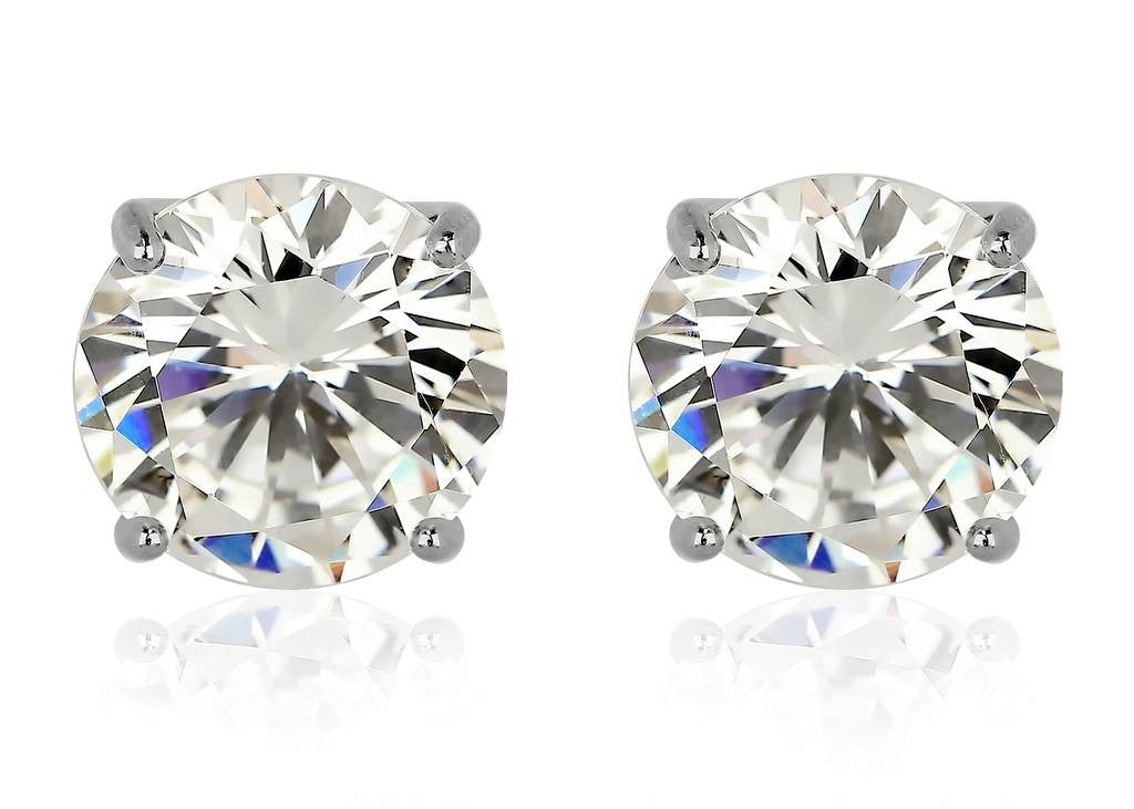 CZ Stud Earrings Rhodium Plated 925 Sterling Silver Base & Highest Grade AAA CZ Stone