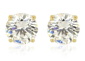 14kt Gold Plated CZ Stud Earrings with Sterling Silver base & Highest Grade AAA CZ Stone