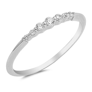 Sterling Silver April Round White Simulated Cubic Zirconia Ring