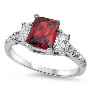 Sterling Silver January Emerald-Cut Simulated Garnet Ring