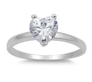 Sterling Silver April Heart White Simulated Cubic Zirconia Ring
