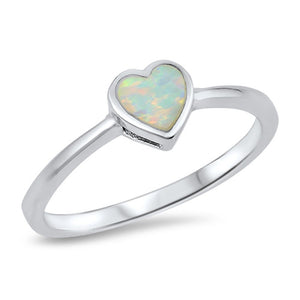 Sterling Silver October Heart White Simulated Opal Ring