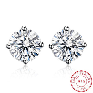 Sterling Silver 4 Prong Diamond Accent 6CM Stud Earring