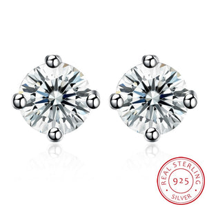 Sterling Silver 4 Prong Diamond Accent 4CM Stud Earring