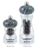Swissmar Andrea Acrylic Mill with Granite Top product shot of pepper mills comparing size
