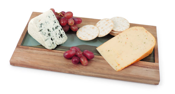 Swissmar Acacia and Glass Serving Board with assorted cheese and grapes
