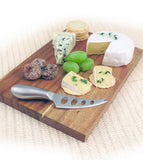 Swissmar Mini Acacia Board 2 Pc Set with a Variety of Cheeses on Top