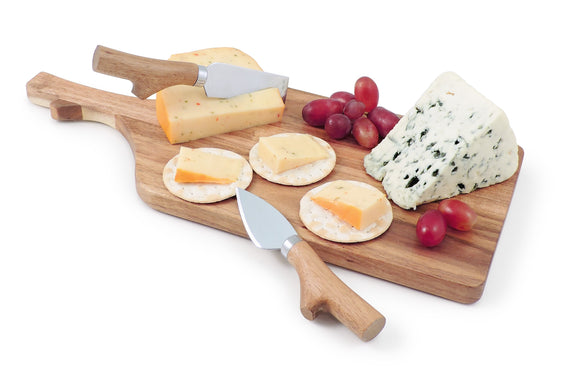 Swissmar Acacia Paddle Board and Knife Set with assorted cheese, crackers and grapes