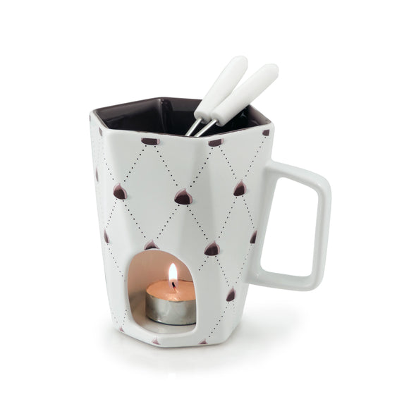 Swissmar Delight 4 Pc Chocolate Fondue Mug Set product shot with lit tea light candle inside