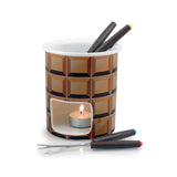 Swissmar Decadence 7 Pc Chocolate Fondue Set product shot with tea light lit inside