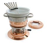 Swissmar Lausanne 11 Pc Copper Fondue Set with splatter guard off to the side