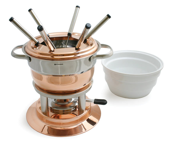 Swissmar Lausanne 11 Pc Copper Fondue Set product shot with ceramic insert off to the side