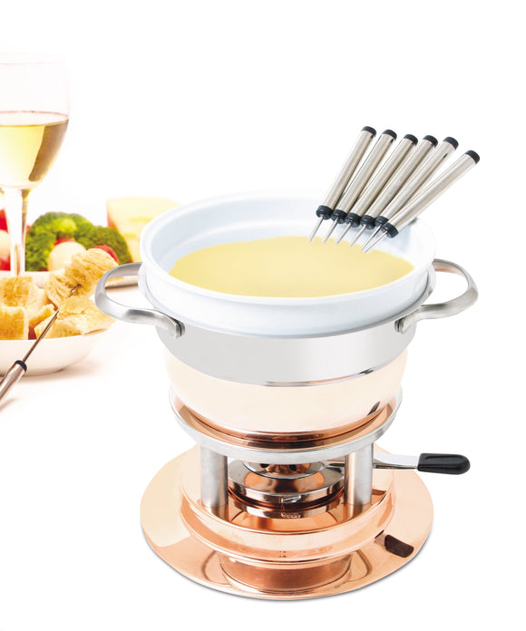 Swissmar Lausanne 11 Pc Copper Fondue Set filled with melted cheese