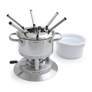 Swissmar Arosa 11 Pc Stainless Steel Fondue Set with ceramic insert beside it and splash guard inside