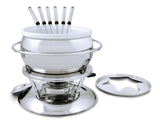 Swissmar Züri 11 Pc Stainless Steel Fondue Set with ceramic insert inside and splatter guard off to the side