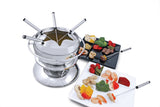 Swissmar Züri 11 Pc Stainless Steel Fondue Set with splatter guard with assorted vegetables and meat spread around