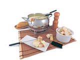 Swissmar Mont Brulé 9 Pc Electric Fondue Set Cheese Fondue set-up with some bread and melted cheese, with a pepper mill off to the side