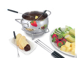 Swissmar Mont Brulé 9 Pc Electric Fondue Set chocolate fondue set, assorted fruit on a plate off to the side