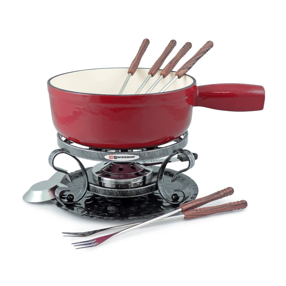 Swissmar Lugano 9 Pc Cast Iron Fondue Set in Red Product Shot