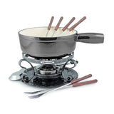 Swissmar Lugano 9 Pc Cast Iron Fondue Set in Metallic Black Product Shot