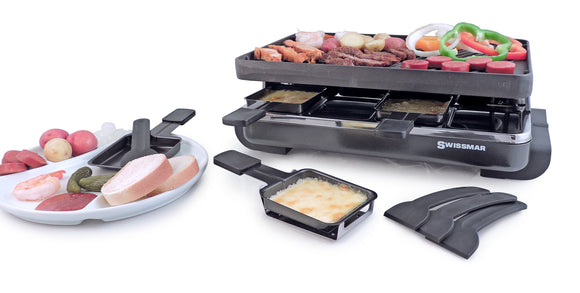Swissmar 8 Person Classic Anthracite Raclette Party Grill with Reversible Cast Iron Grill Plate