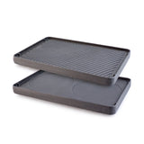 Swissmar Cast Iron Reversible Grill Plate product shot comparing grill and crepe sides