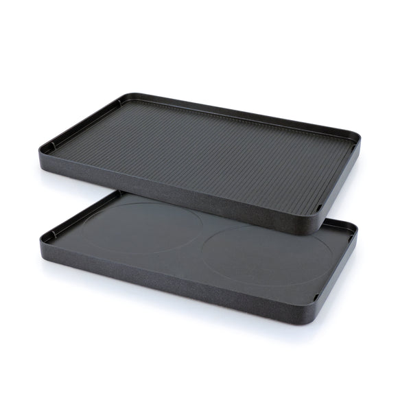 Swissmar Cast Aluminum Reversible Non-Stick Grill Plate showing both sides of grill