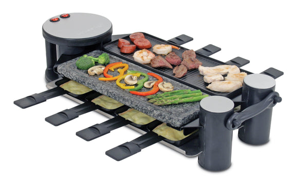 Swivel raclette with food on top and melted cheese in the dishes underneath