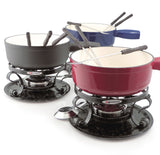 Swissmar Lugano 9 Pc Cast Iron Fondue Set shown in red, black and blue