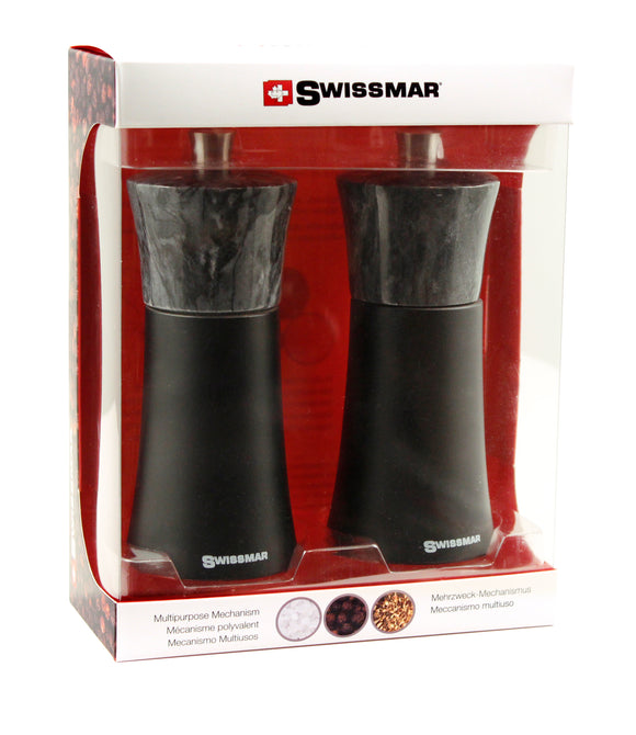 Salt and Pepper Mill Set | Black Matte Wood with Granite | Swissmar
