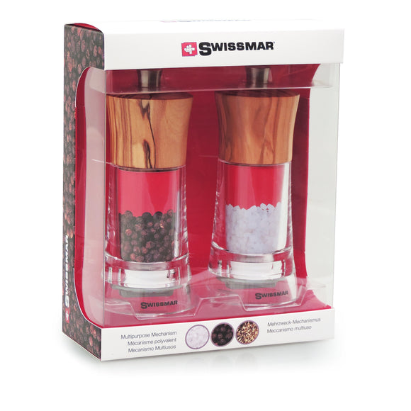 Salt and Pepper Mill Set |  Clear Acrylic with Olive Wood Top | Swissmar