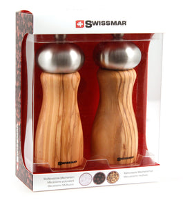 Salt and Pepper Mill Set | Olive Wood with Stainless Steel Top | Swissmar