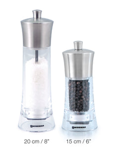 Salt and Pepper Mill | Clear Acrylic with Stainless Steel Top | Torre | Swissmar