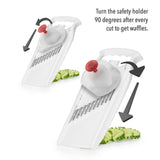 Börner White PowerLine Wave Waffle Cutter image with food safety holder showing how to get waffle cut (rotate food safety holder 90 degrees each slice)