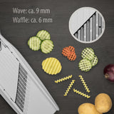 Börner White PowerLine Wave Waffle Cutter showing sizes of waffle (6mm) and wave (9mm) cuts