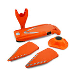 Borner V-Slicer product shot with inserts, safety holder and product holder orange