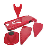 Borner V-Slicer product shot with inserts, safety holder and product holder red